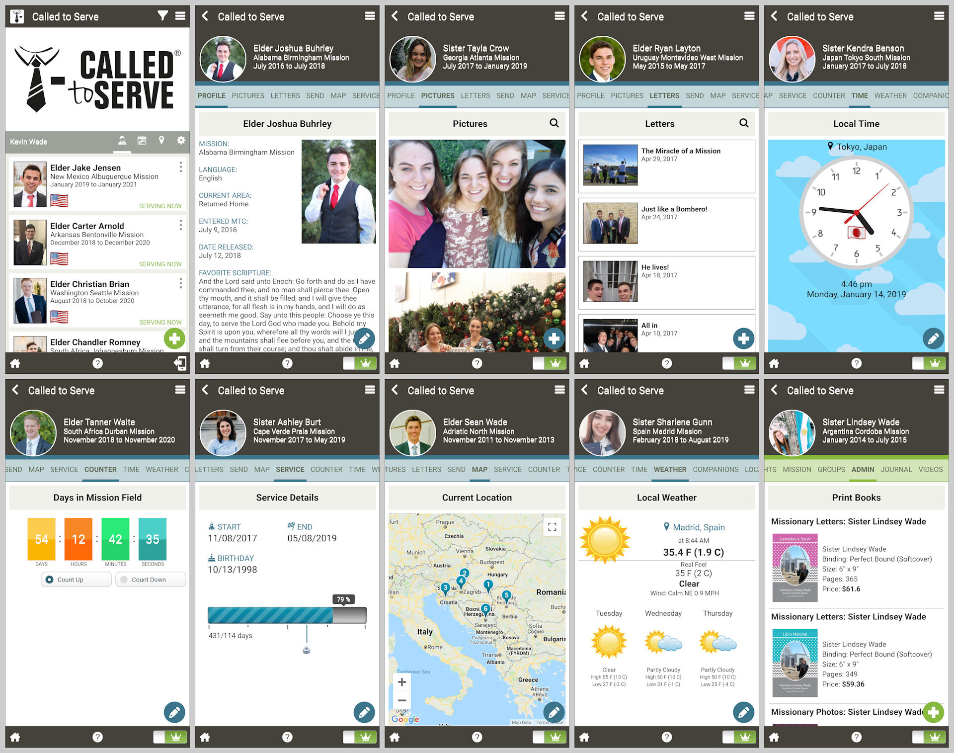 Ten different screenshots from the Called to Serve mobile app.
