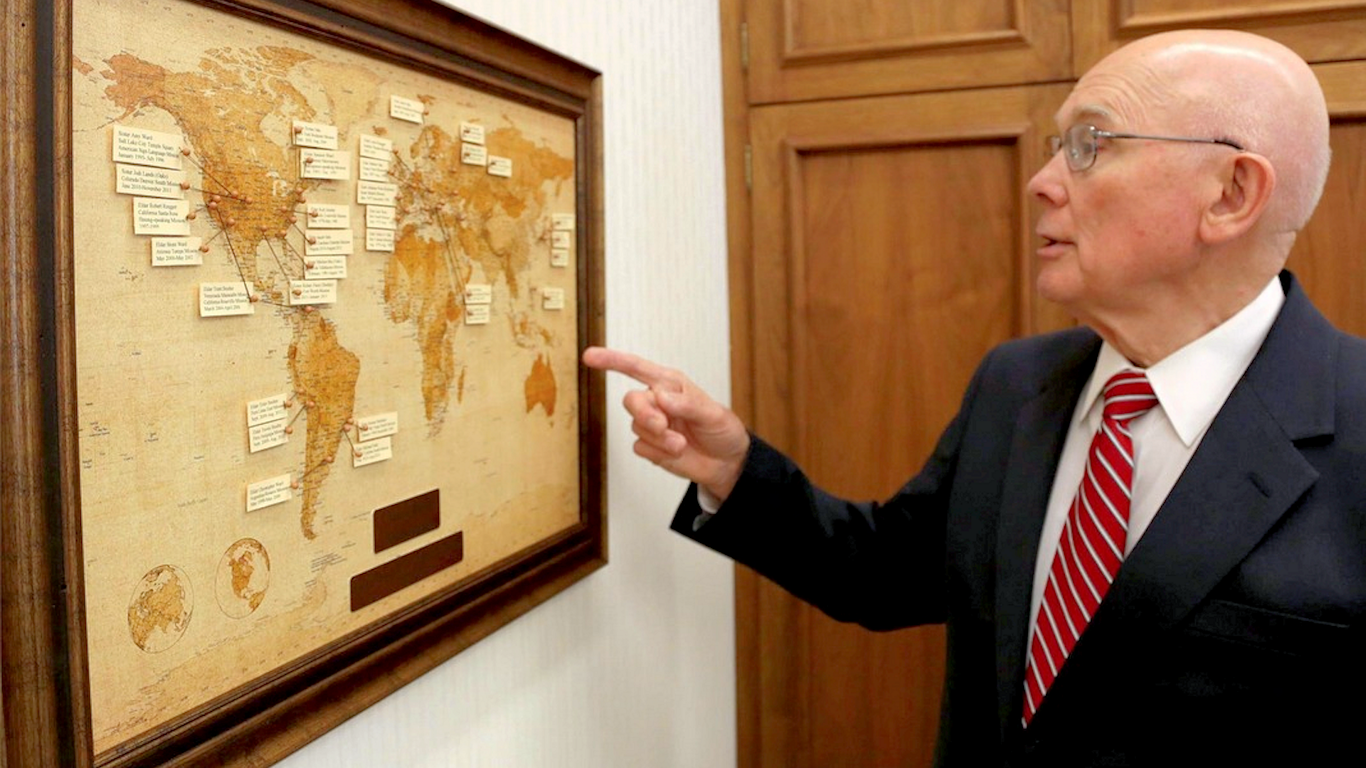 Elder Oaks says that the missionary map in his office is one of his most prized possessions.