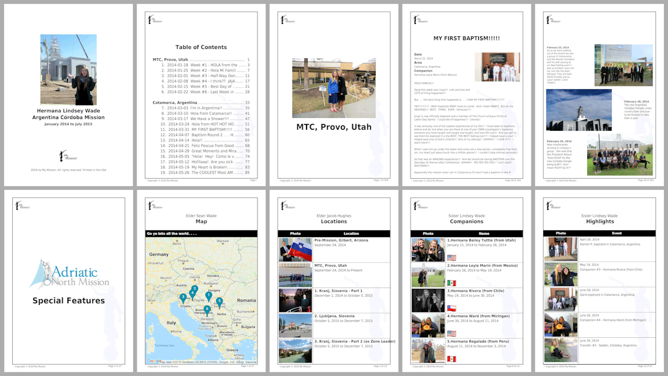 Our Mission Books include the 10 different internal page types shown above.